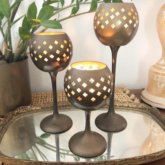 Vintage Brass Tea Light Votive Candle Holder Set